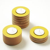 Image of  NEW wooden yellow tea light holders