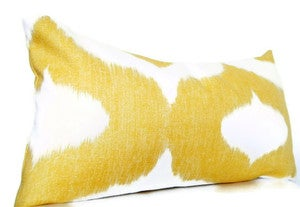 Image of Mustard Yellow Long Bolster Pillow, Bohemian Decorative Pillows, Ikat 