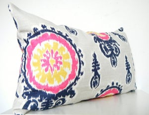 Image of Pink Ikat Pillow Long Bolster Pillow Decorative Pillows Navy Blue Pillows Mustard Yellow Pillows