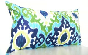 Image of Green Ikat Pillow Covers, Long Bolster Pillow, Bohemian Decor, Monaco Blue