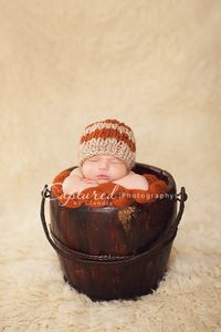 Image of Newborn Luxe Nutmeg stripe beanie set