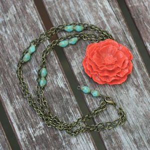 Image of (BACK IN STOCK) Double Tango Orange Cabbage Rose &amp; Turquoise Opaque Beads, Vintage-style Necklace