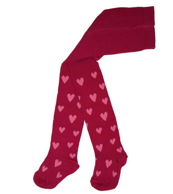 Image of Juliet Tights - Cerise with pink hearts