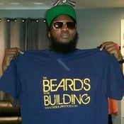 Image of BEARDS IN THE BUILDING T-SHIRT NAVY BLUE WITH GOLD PRINT