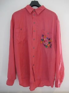 Image of Bespoke Vintage Pink Silk shirt with Jewelled Pocket