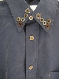 Image of Bespoke Vintage Blue shirt with Vintage Button collar 