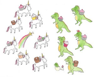 Image of PRINT: 8x10 Battle Royale between Cupcakes Riding Unicorns and T-Rexes