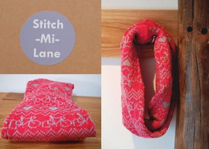 Image of Bike Twist Snood - Fuschia and Grey