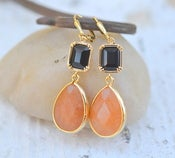 Image of Pumpkin Orange Dangle Teadrop and Black Glass Crystal Earrings