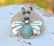 Image of Large Turquoise Queen Bee Pendant Necklace with Jet Black Crystals. Queen Bee Statement Necklace.