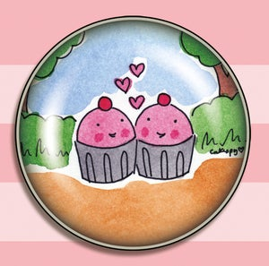 Image of JUMBO MAGNETS: 2-inch Cuppie Love Bubble Dome Magnet