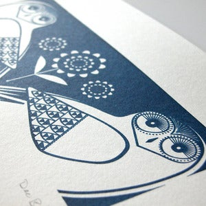 Image of Snowy Owls In Midnight Blue - Hand Pulled, Signed, Gocco Print