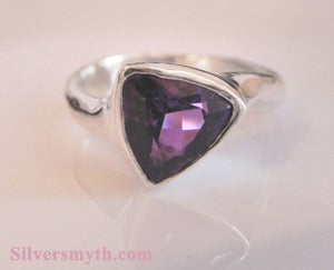 Image of Amethyst Trillion in Sterling Silver