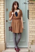 Image of Sugary Lace Collar Dress with Removable Bow (brown)