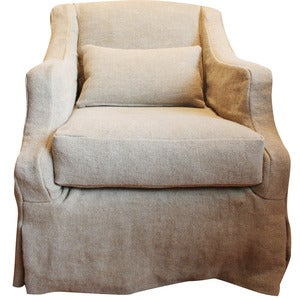 Image of Linen Slipcovered Swivel Armchair