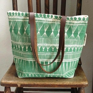 Image of Green Market Weave Silkscreened Tote Bag
