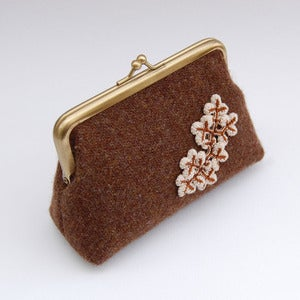 Image of Chocolate brown Harris tweed purse