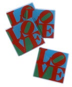 Image of multi-colored love coasters