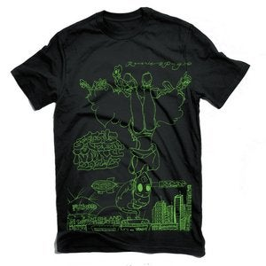 Image of Sitting Upside Down T Shirt (Black/Green Print)