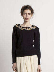 Image of Plaited Collar Jumper - Black<br>- was £199 -