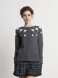 Image of Felt Appliqué Shetland Cardigan - Grey<br>- was £229 -