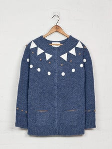Image of Felt Appliqué Shetland Cardigan - Blue<br>- was £229 -