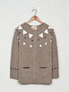 Image of  Felt Appliqué Shetland Cardigan - Beige<br>- was £229 -