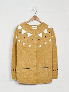 Image of Felt Appliqué Shetland Cardigan - Yellow<br>- was £229 -
