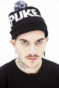 Image of KNITTED PUKE BEANIE WITH POMPOM (A-009)
