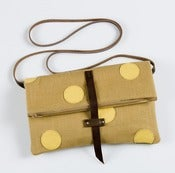 Image of foldover crossbody bag with hand cut leather dots (caramel + lemon drop)