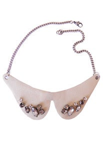 Image of Kitten ivory leather and crystal collar + colors