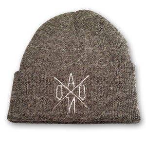 Image of Heather Grey Embroidered AONO Logo Beanie