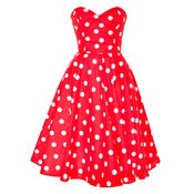 Image of Red Polka Dot Rockabilly Swing Dress