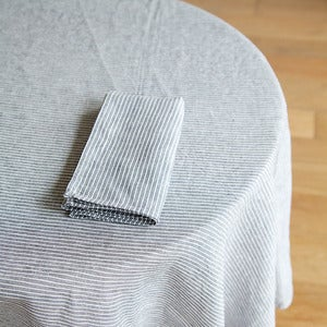 Image of Tablecloth: Grey White Thin Stripe