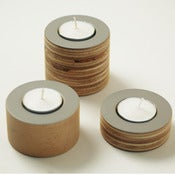 Image of Grey wooden tea light holders