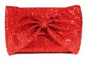 Image of Glitter Bow Clutch Bag - Ruby Red