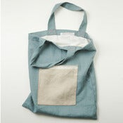 Image of Blue natural linen tote bag