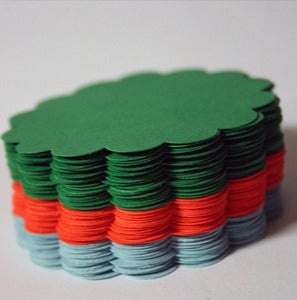 Image of 100 Colourful Hand punched Scalloped Circles 2.25 inches