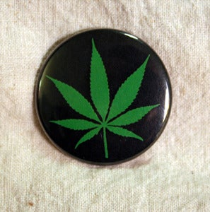 "Image of Marijuana Leaf & Pass the Green 1.5"" Pinback Button"
