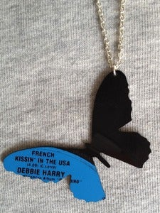 Image of Vinyl record necklace Butterfly Debbie Harry Blondie, French Kissin in the USA