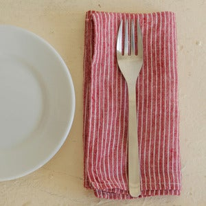 Image of Napkin: Red Thin White Stripe
