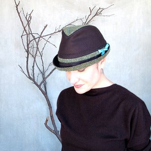 Image of Fedora Courant in chocolate brown &amp; multi tweed