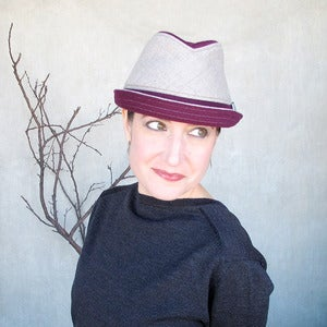 Image of Fedora Courant in Burgundy & Greige