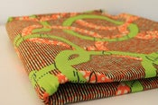 Image of Orange and Green Dics print CHITENGE ZAMBIAN 100% WAX PRINT FABRIC