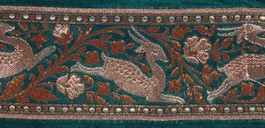 Image of Green Banarasi Fabric Border with Woven Frolicking Deer