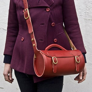 Image of Round Leather Shoulder Bag