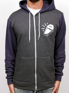 Image of BROKEN COFFIN ZIP-UP (Charcoal Heather/Navy)