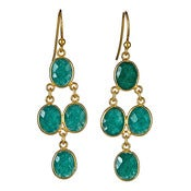 "Image of  "" New "" Kara Ackerman <i> Judie <i/> Oval Faceted Emerald 4 Drop Earring"