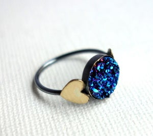Image of Blue Drusy Ring with Hearts