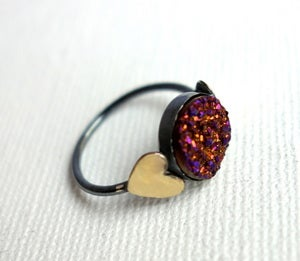 Image of Cranberry Drusy Ring with Hearts